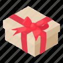 birthday, bow, box, gift, isometric, object, present