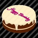 birthday, cake, celebration, food, isometric, object, party