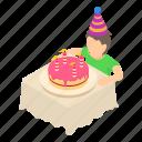 birthday, celebration, decoration, isometric, kid, object, party