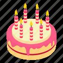 birthday, cake, candle, celebration, isometric, object, party