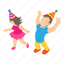 birthday, decoration, happy, isometric, kid, object, party icon