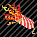 celebration, fireworks, fun, holiday, isometric, new, object