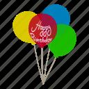 air, balloon, birthday, celebration, helium, isometric, object