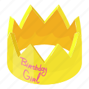 birthday, card, crown, decoration, greeting, isometric, object