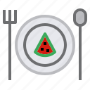 cake, dish, frok, spoon icon