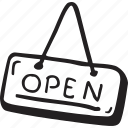 open, restaurant, sign, tag icon