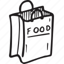 bag, food, paper bag, restaurant, shoping icon