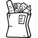 bag, food, groceries, paper bag, restaurant, vegetables icon