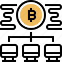 decentralized, bitcoin, network, transaction, payments icon
