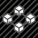 blockchain, block, chain, bitcoin, four, cube, network