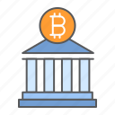 bitcoin, bank, building, finance, business, money, cryptocurrency