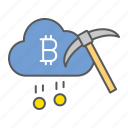 cloud, mining, cryptocurrency, pickaxe, bitcoin, money