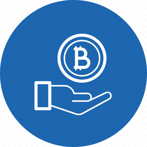 bitcoin, currency, donation, finance, hand, investment, money icon