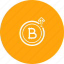 bitcoin, growth, hike, increase, price, rate icon
