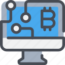 bitcoin, coin, computer, connect, currency, money, network icon