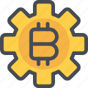 bitcoin, currency, gear, money, process icon