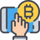 bitcoin, coin, currency, mobile, money, payment, smartphone icon
