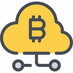 bitcoin, cloud, coin, connect, currency, money, network icon