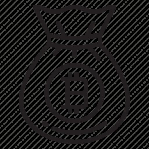 bag, bitcoin, blockchain, coin, cryptocurrency, finance, money icon