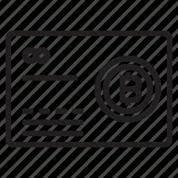 bitcoin, blockchain, card, coin, cryptocurrency, finance, money icon