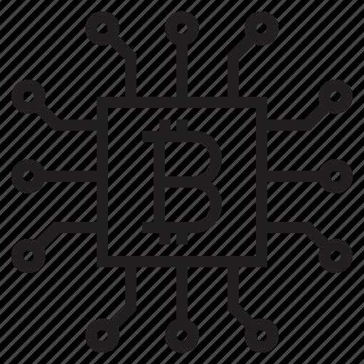 bitcoin, blockchain, coin, cpu, cryptocurrency, finance, money icon