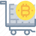 bitcoin, btc, cart, coin, currency, money, shopping icon