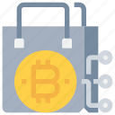 bag, bitcoin, btc, currency, ecommerce, money, shopping icon