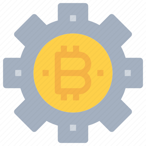 bitcoin, btc, currency, gear, money, process icon