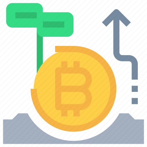 arrow, bitcoin, btc, coin, currency, investment, money icon