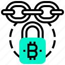 bitcoin, block, chain, currency, digital, money, security icon