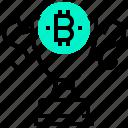 bitcoin, block, currency, digital, money, reward, trophy icon