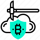 bitcoin, cloud, crypto, currency, digital, mining, money icon