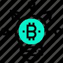 bitcoin, currency, decentralise, digital, idea, lightbulb, money icon