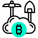 bitcoin, currency, digital, mining, money, public icon
