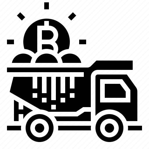 bitcoin, delivery, transaction, transfer, truck icon