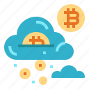 bitcoin, cloud, finance, money icon