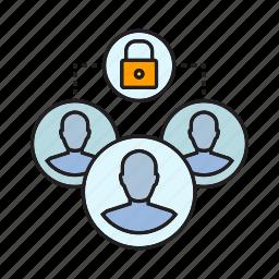 blockchain, crowd, decentralize, key, privacy, security, transaction icon