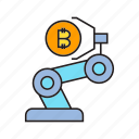 bitcoin, cryptocurrency, digital currency, electronic money, robot, robotic arm, transaction icon