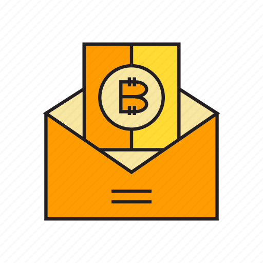 bitcoin, cryptocurrency, digital currency, electronic money, envelope, letter, money icon