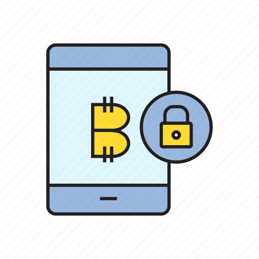 bitcoin, cryptocurrency, digital currency, lock, security, smart phone, transaction icon