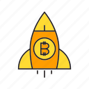 bitcoin, cryptocurrency, digital currency, electronic money, launch, money, rocket icon