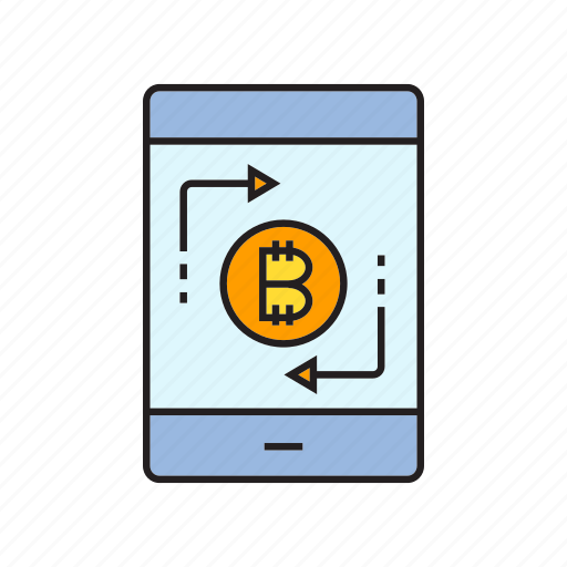 bitcoin, cryptocurrency, digital currency, money, money change, smart phone, swap icon