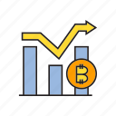 bitcoin, chart, cryptocurrency, digital currency, electronic money, graph, money icon