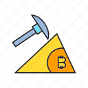 axe, bitcoin, bitcoin mining, cryptocurrency, digital currency, electronic money, mining icon