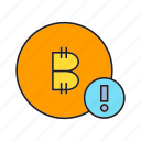 bitcoin, cryptocurrency, digital currency, electronic money, error, money, warning icon