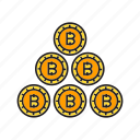 bitcoin, coins, cryptocurrency, digital currency, electronic money, money icon