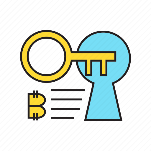 bitcoin, cryptocurrency, digital currency, key, lock, privacy, security icon