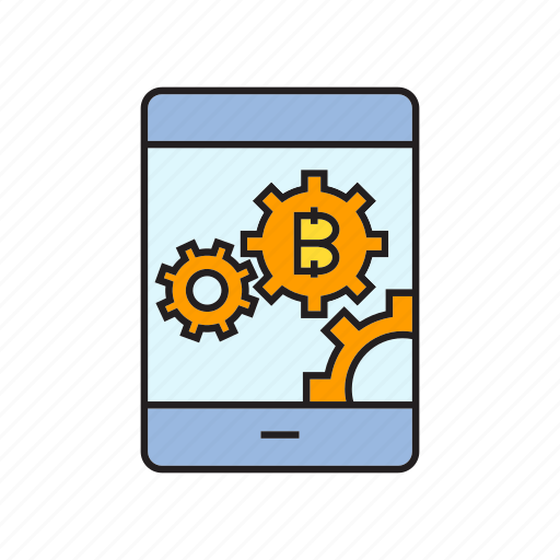 bitcoin, blockchain, cog, cryptocurrency, digital currency, mobile, smart phone icon