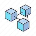 blockchain, box, connect, cube icon