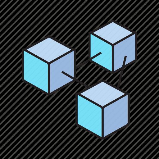 blockchain, box, connect, cube icon